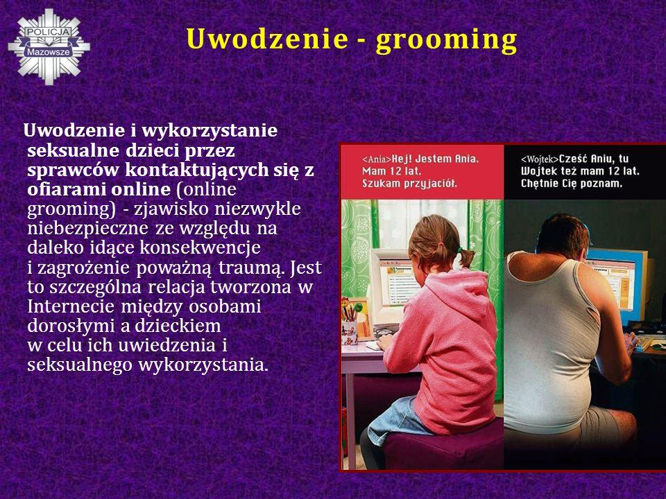 Uwodzenie - grooming Uwodzenie i wykorzystanie seksualne dzieci przez sprawców kontaktujących się z ofiarami online (online grooming) - zjawisko niezwykle niebezpieczne ze względu na daleko idące konsekwencje i zagrożenie poważną traumą.