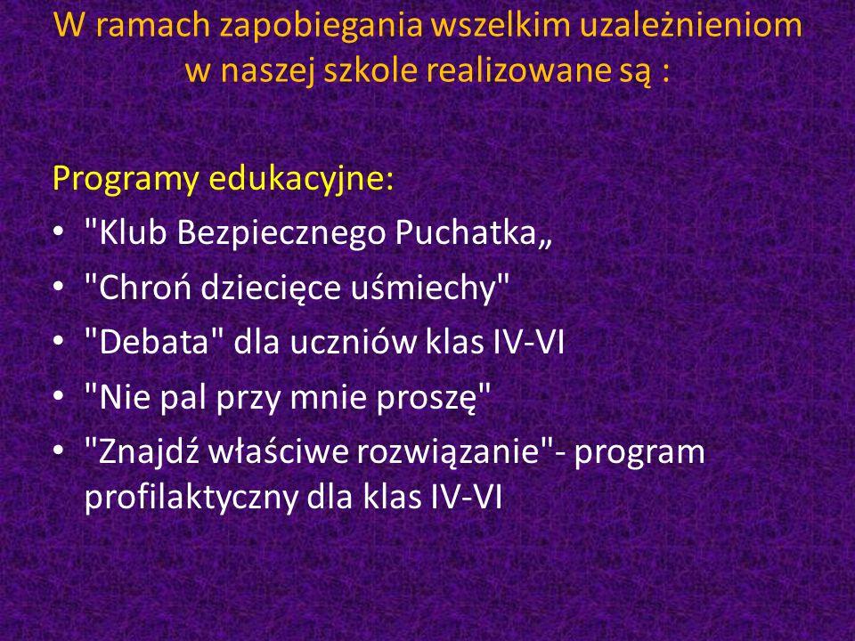 """W ramach zapobiegania wszelkim uzależnieniom w naszej szkole realizowane są : Programy edukacyjne: Klub Bezpiecznego Puchatka"""" Chroń dziecięce uśmiechy Debata dla uczniów klas IV-VI Nie pal przy mnie proszę Znajdź właściwe rozwiązanie - program profilaktyczny dla klas IV-VI"""