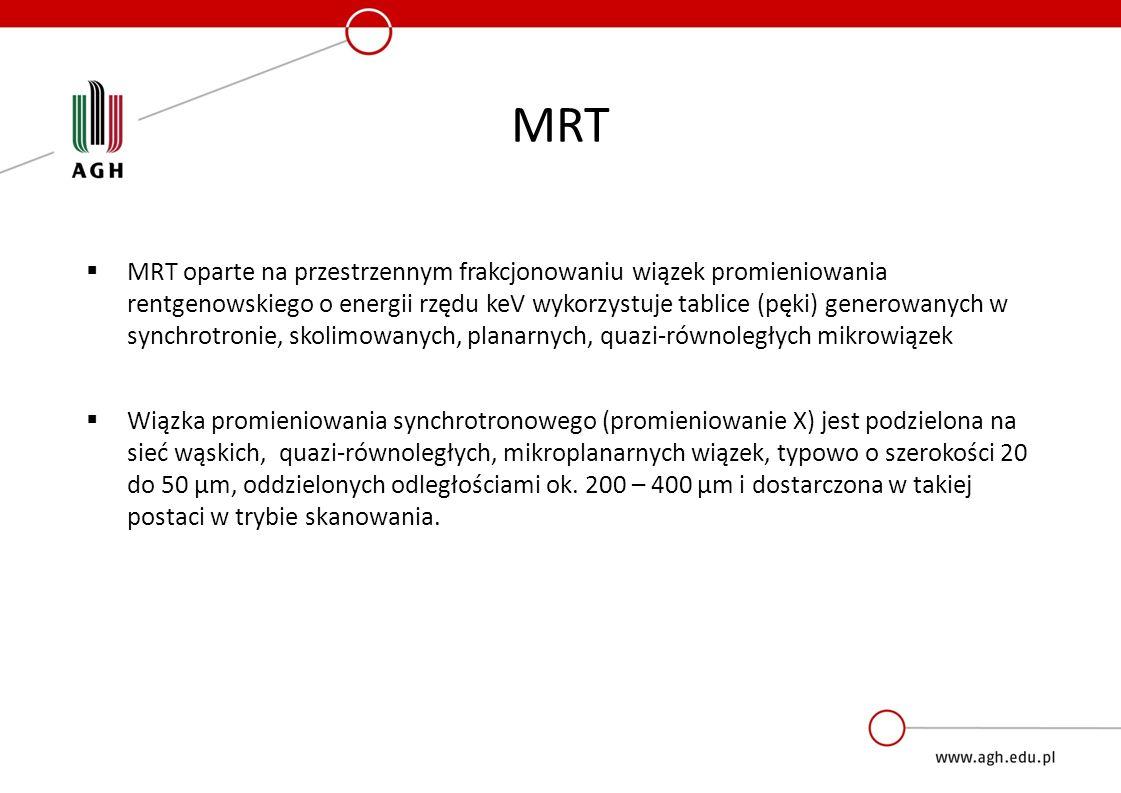 MRT  MRT oparte na przestrzennym frakcjonowaniu wiązek promieniowania rentgenowskiego o energii rzędu keV wykorzystuje tablice (pęki) generowanych w synchrotronie, skolimowanych, planarnych, quazi-równoległych mikrowiązek  Wiązka promieniowania synchrotronowego (promieniowanie X) jest podzielona na sieć wąskich, quazi-równoległych, mikroplanarnych wiązek, typowo o szerokości 20 do 50 µm, oddzielonych odległościami ok.
