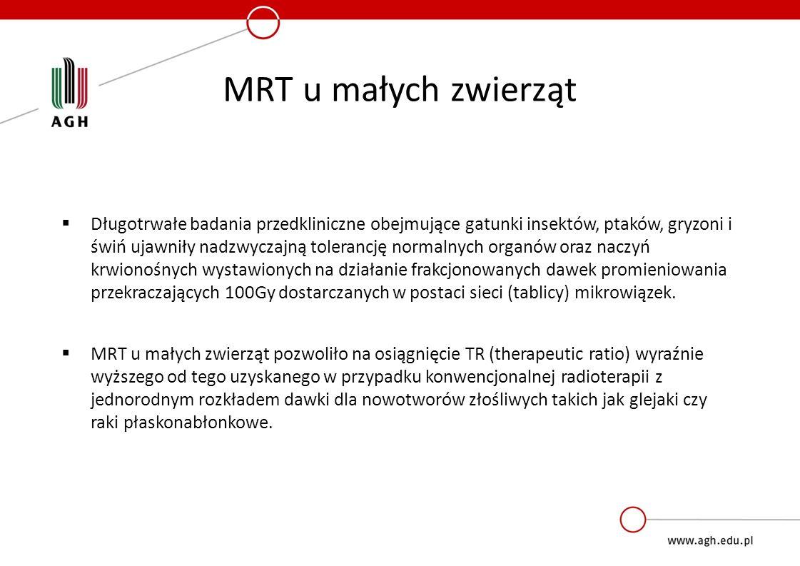 MRT u małych zwierząt  Długotrwałe badania przedkliniczne obejmujące gatunki insektów, ptaków, gryzoni i świń ujawniły nadzwyczajną tolerancję normalnych organów oraz naczyń krwionośnych wystawionych na działanie frakcjonowanych dawek promieniowania przekraczających 100Gy dostarczanych w postaci sieci (tablicy) mikrowiązek.
