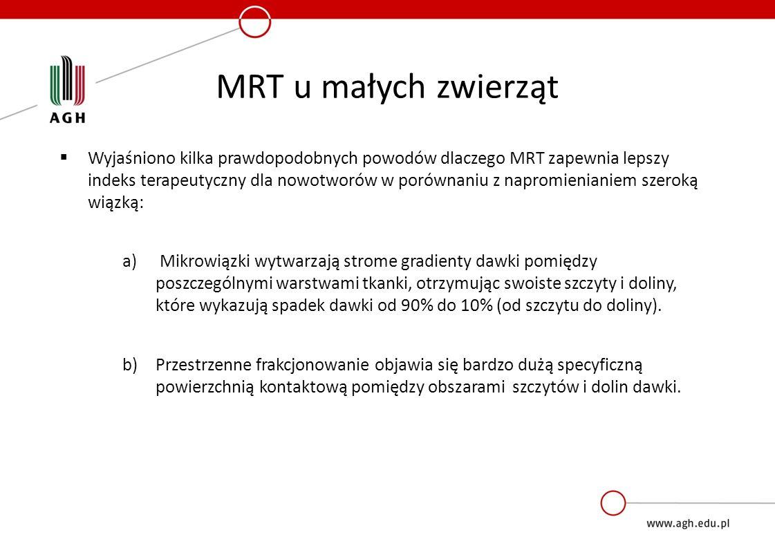 MRT u małych zwierząt  Wyjaśniono kilka prawdopodobnych powodów dlaczego MRT zapewnia lepszy indeks terapeutyczny dla nowotworów w porównaniu z napromienianiem szeroką wiązką: a) Mikrowiązki wytwarzają strome gradienty dawki pomiędzy poszczególnymi warstwami tkanki, otrzymując swoiste szczyty i doliny, które wykazują spadek dawki od 90% do 10% (od szczytu do doliny).