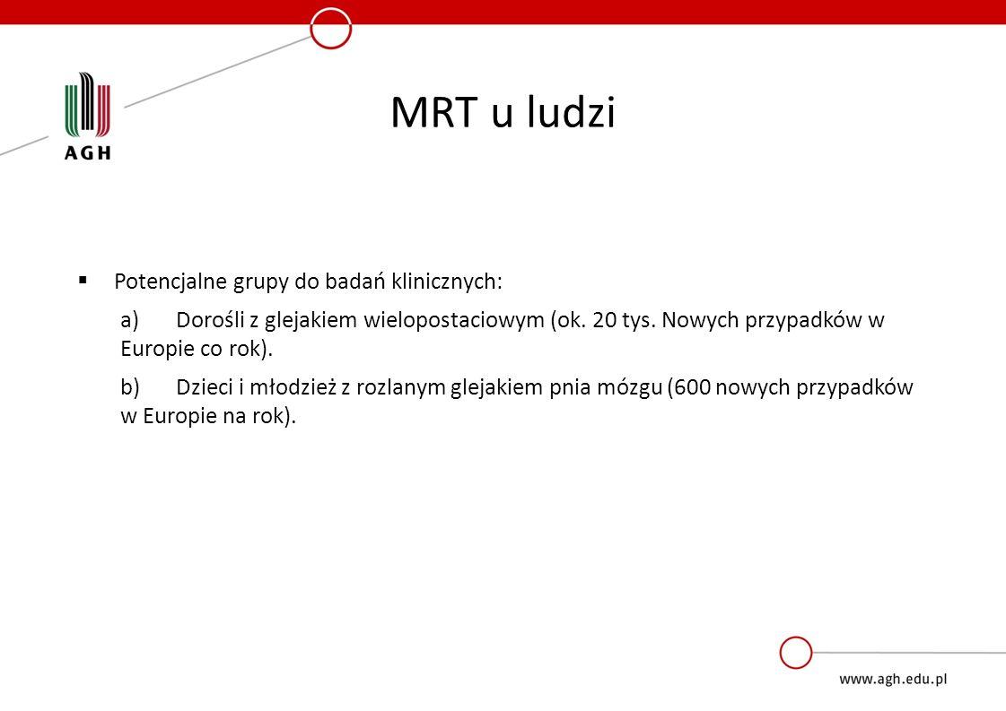 MRT u ludzi  Potencjalne grupy do badań klinicznych: a) Dorośli z glejakiem wielopostaciowym (ok. 20 tys. Nowych przypadków w Europie co rok). b)Dzie