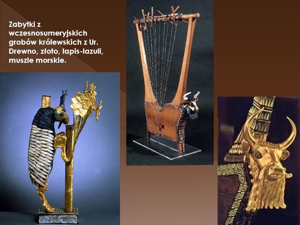 Zabytki z wczesnosumeryjskich grobów królewskich z Ur. Drewno, złoto, lapis-lazuli, muszle morskie.
