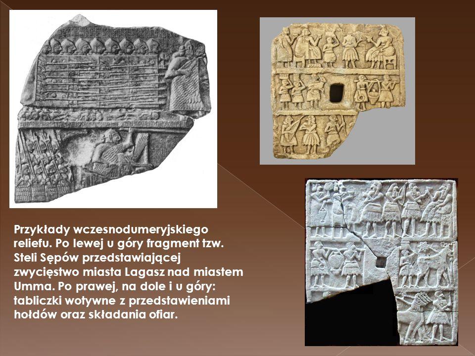 Przykłady wczesnodumeryjskiego reliefu. Po lewej u góry fragment tzw. Steli Sępów przedstawiającej zwycięstwo miasta Lagasz nad miastem Umma. Po prawe