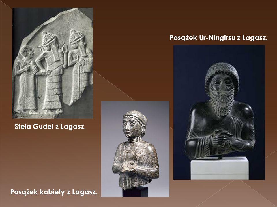 Stela Gudei z Lagasz. Posążek kobiety z Lagasz. Posążek Ur-Ningirsu z Lagasz.