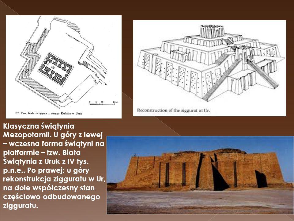 Klasyczna świątynia Mezopotamii. U góry z lewej – wczesna forma świątyni na platformie – tzw. Biała Świątynia z Uruk z IV tys. p.n.e.. Po prawej: u gó
