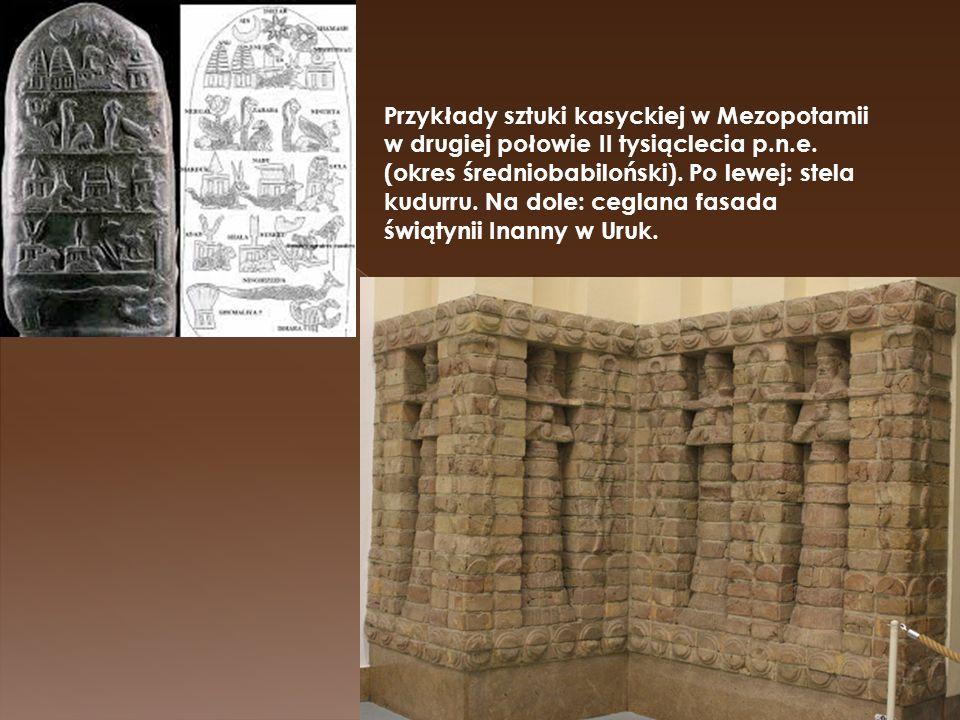 Przykłady sztuki kasyckiej w Mezopotamii w drugiej połowie II tysiąclecia p.n.e. (okres średniobabiloński). Po lewej: stela kudurru. Na dole: ceglana
