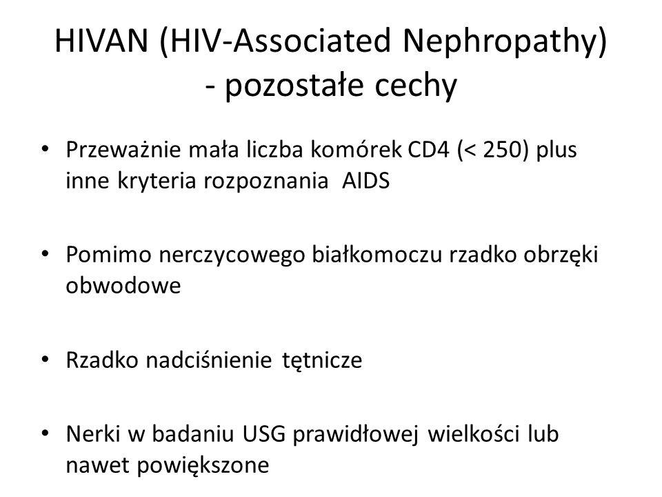 Przeważnie mała liczba komórek CD4 (< 250) plus inne kryteria rozpoznania AIDS Pomimo nerczycowego białkomoczu rzadko obrzęki obwodowe Rzadko nadciśnienie tętnicze Nerki w badaniu USG prawidłowej wielkości lub nawet powiększone HIVAN (HIV-Associated Nephropathy) - pozostałe cechy