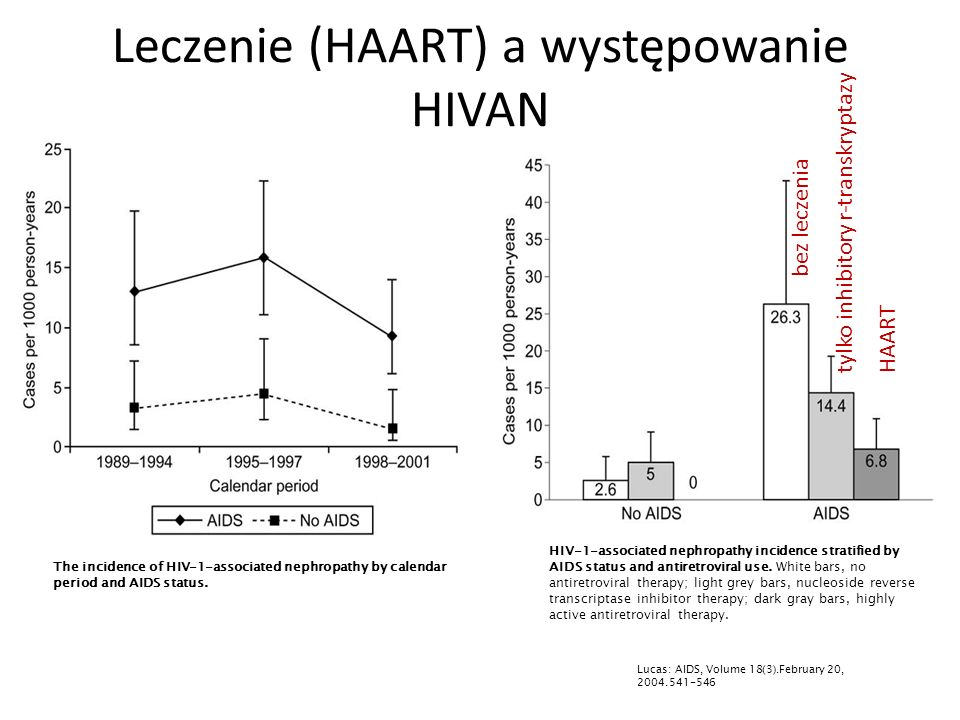 Leczenie (HAART) a występowanie HIVAN HIV-1-associated nephropathy incidence stratified by AIDS status and antiretroviral use.