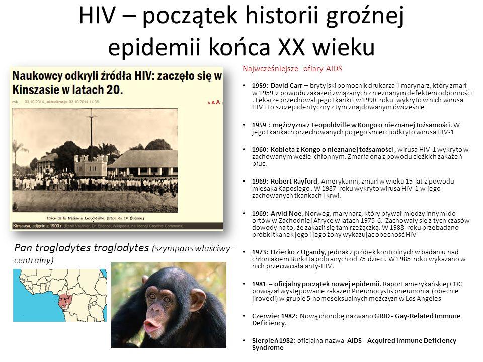 HIV – początek historii groźnej epidemii końca XX wieku Najwcześniejsze ofiary AIDS 1959: David Carr – brytyjski pomocnik drukarza i marynarz, który z