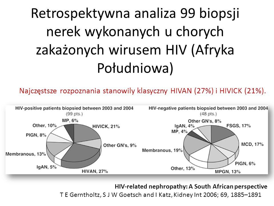 Retrospektywna analiza 99 biopsji nerek wykonanych u chorych zakażonych wirusem HIV (Afryka Południowa) HIV-related nephropathy: A South African perspective T E Gerntholtz, S J W Goetsch and I Katz, Kidney Int 2006; 69, 1885–1891 Najczęstsze rozpoznania stanowily klasyczny HIVAN (27%) i HIVICK (21%).