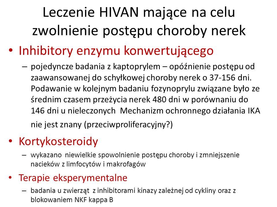 Leczenie HIVAN mające na celu zwolnienie postępu choroby nerek Inhibitory enzymu konwertującego – pojedyncze badania z kaptoprylem – opóźnienie postęp