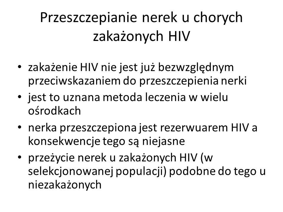 Przeszczepianie nerek u chorych zakażonych HIV zakażenie HIV nie jest już bezwzględnym przeciwskazaniem do przeszczepienia nerki jest to uznana metoda leczenia w wielu ośrodkach nerka przeszczepiona jest rezerwuarem HIV a konsekwencje tego są niejasne przeżycie nerek u zakażonych HIV (w selekcjonowanej populacji) podobne do tego u niezakażonych
