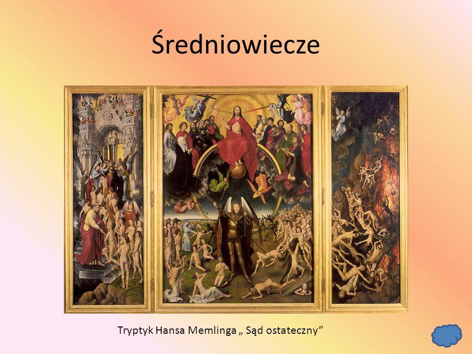 """Średniowiecze Tryptyk Hansa Memlinga """" Sąd ostateczny"""