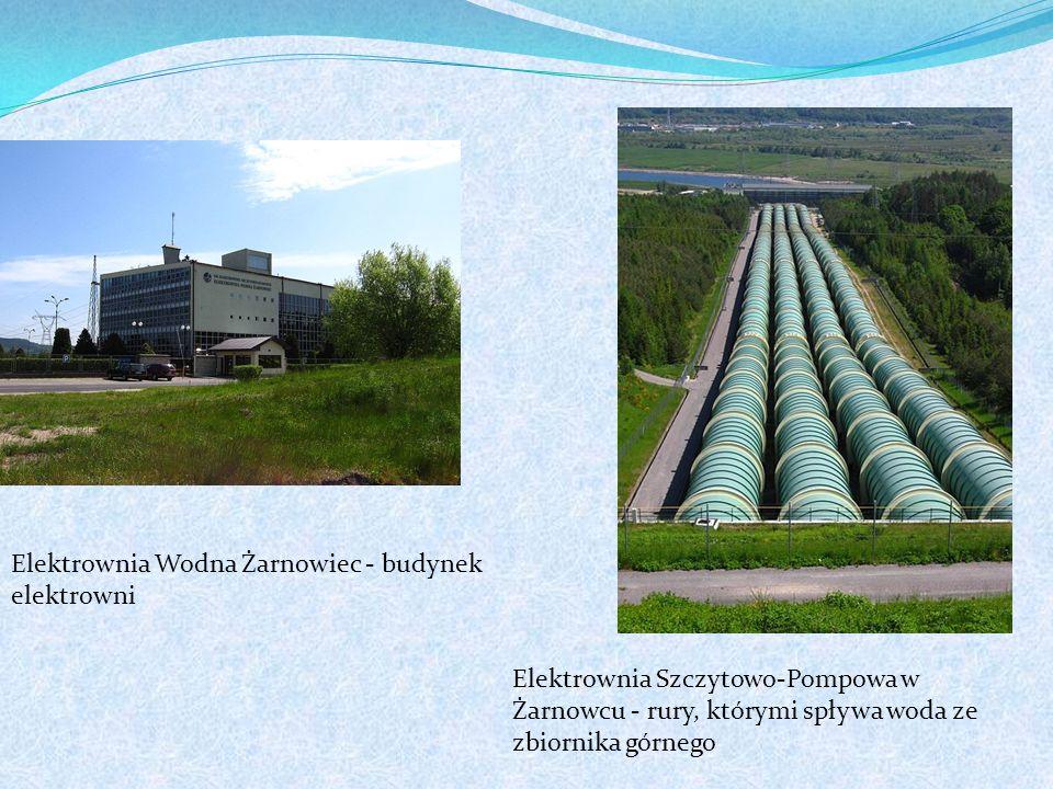Elektrownia Wodna Żarnowiec - budynek elektrowni Elektrownia Szczytowo-Pompowa w Żarnowcu - rury, którymi spływa woda ze zbiornika górnego