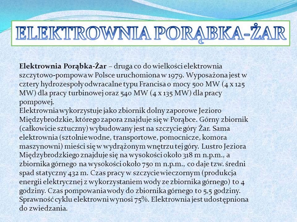 Elektrownia Porąbka-Żar – druga co do wielkości elektrownia szczytowo-pompowa w Polsce uruchomiona w 1979.