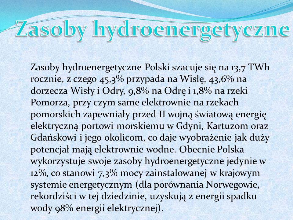 Zasoby hydroenergetyczne Polski szacuje się na 13,7 TWh rocznie, z czego 45,3% przypada na Wisłę, 43,6% na dorzecza Wisły i Odry, 9,8% na Odrę i 1,8% na rzeki Pomorza, przy czym same elektrownie na rzekach pomorskich zapewniały przed II wojną światową energię elektryczną portowi morskiemu w Gdyni, Kartuzom oraz Gdańskowi i jego okolicom, co daje wyobrażenie jak duży potencjał mają elektrownie wodne.