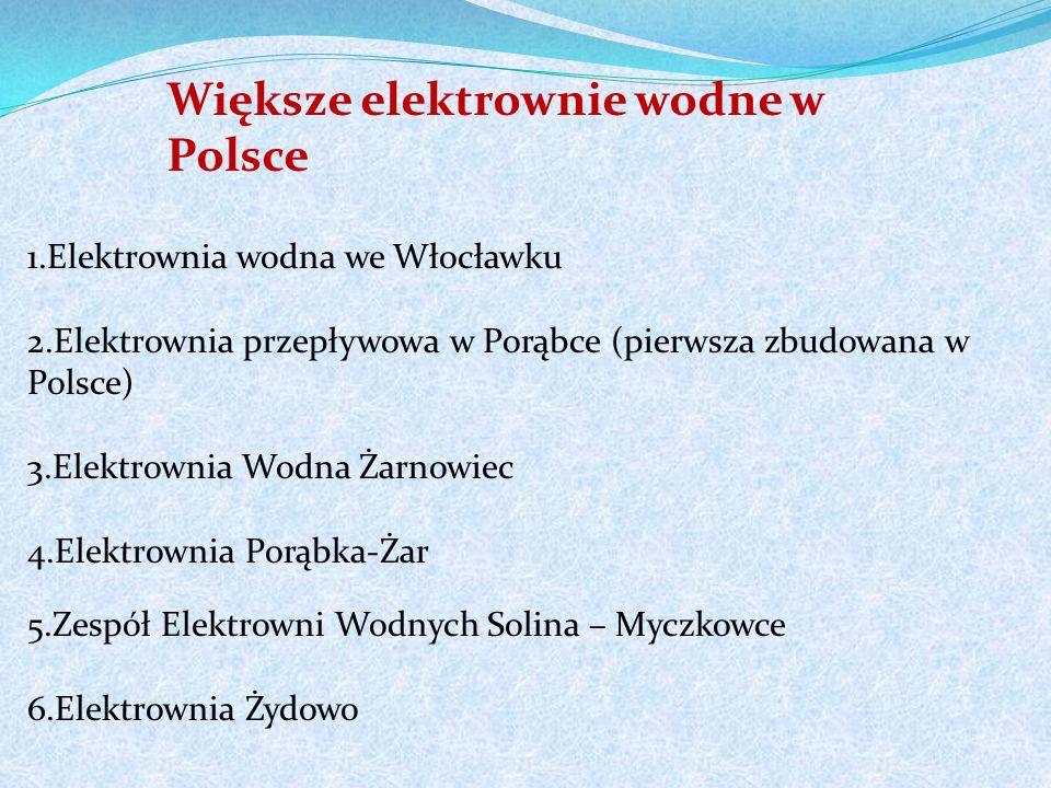 1.Elektrownia wodna we Włocławku 2.Elektrownia przepływowa w Porąbce (pierwsza zbudowana w Polsce) 3.Elektrownia Wodna Żarnowiec 4.Elektrownia Porąbka-Żar 5.Zespół Elektrowni Wodnych Solina – Myczkowce 6.Elektrownia Żydowo Większe elektrownie wodne w Polsce