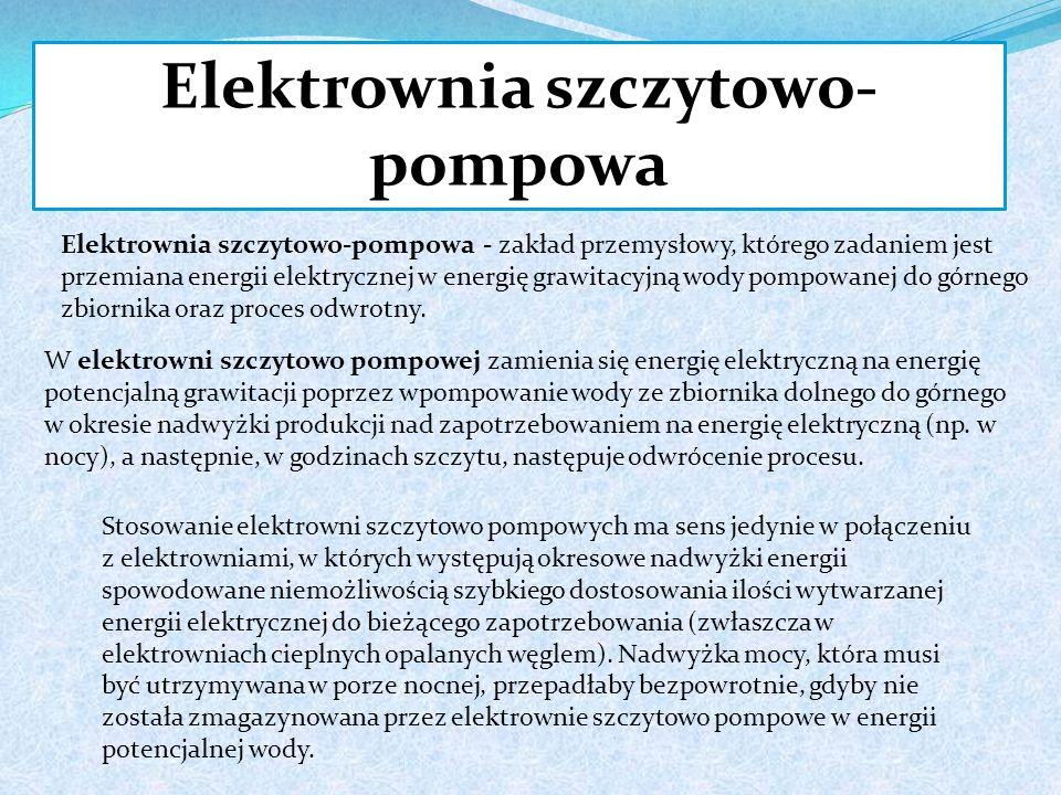 Elektrownia szczytowo- pompowa Elektrownia szczytowo-pompowa - zakład przemysłowy, którego zadaniem jest przemiana energii elektrycznej w energię grawitacyjną wody pompowanej do górnego zbiornika oraz proces odwrotny.