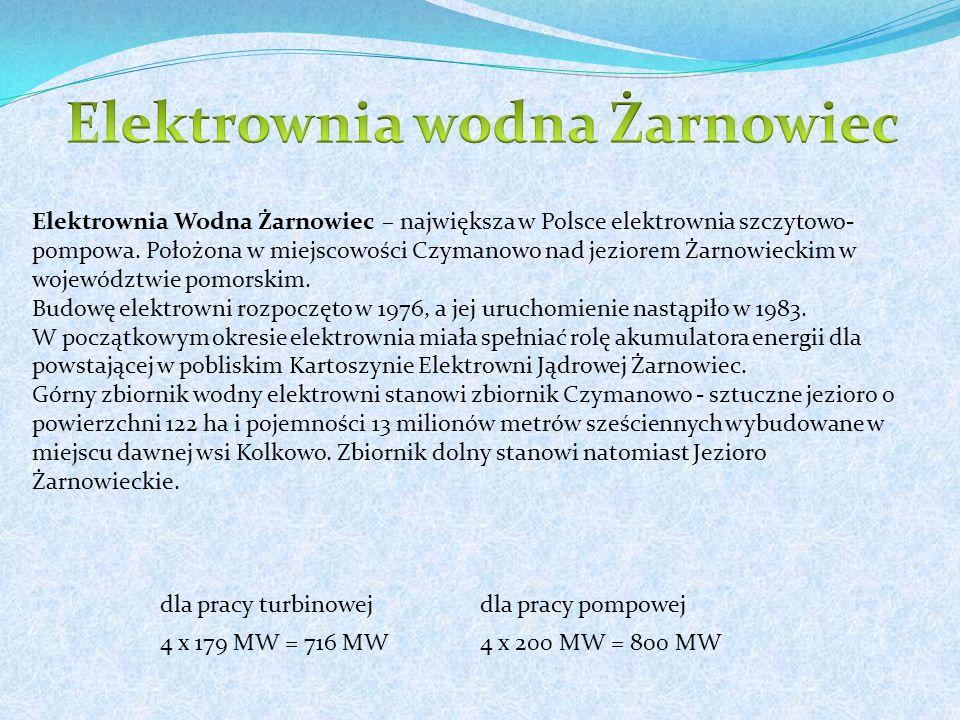 dla pracy turbinowejdla pracy pompowej 4 x 179 MW = 716 MW4 x 200 MW = 800 MW Elektrownia Wodna Żarnowiec – największa w Polsce elektrownia szczytowo- pompowa.