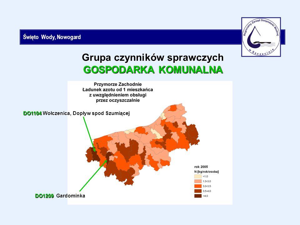Święto Wody, Nowogard Grupa czynników sprawczych GOSPODARKA KOMUNALNA DO1104 Wołczenica, Dopływ spod Szumiącej DO1209 Gardominka
