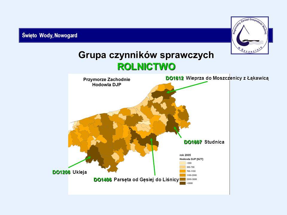 Święto Wody, Nowogard Grupa czynników sprawczych ROLNICTWO DO1612 Wieprza do Moszczenicy z Łąkawicą DO1607 Studnica DO1406 Parsęta od Gęsiej do Liśnicy DO1206 Ukleja