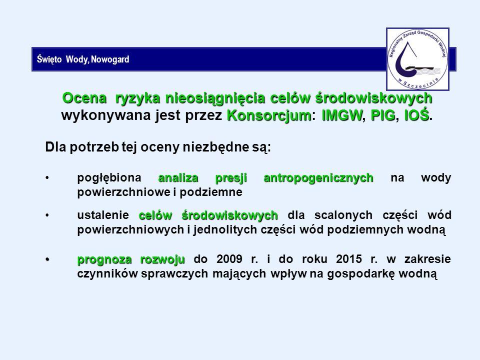 Święto Wody, Nowogard Ocena ryzyka nieosiągnięcia celów środowiskowych Konsorcjum: IMGW PIGIOŚ Ocena ryzyka nieosiągnięcia celów środowiskowych wykonywana jest przez Konsorcjum: IMGW, PIG, IOŚ.