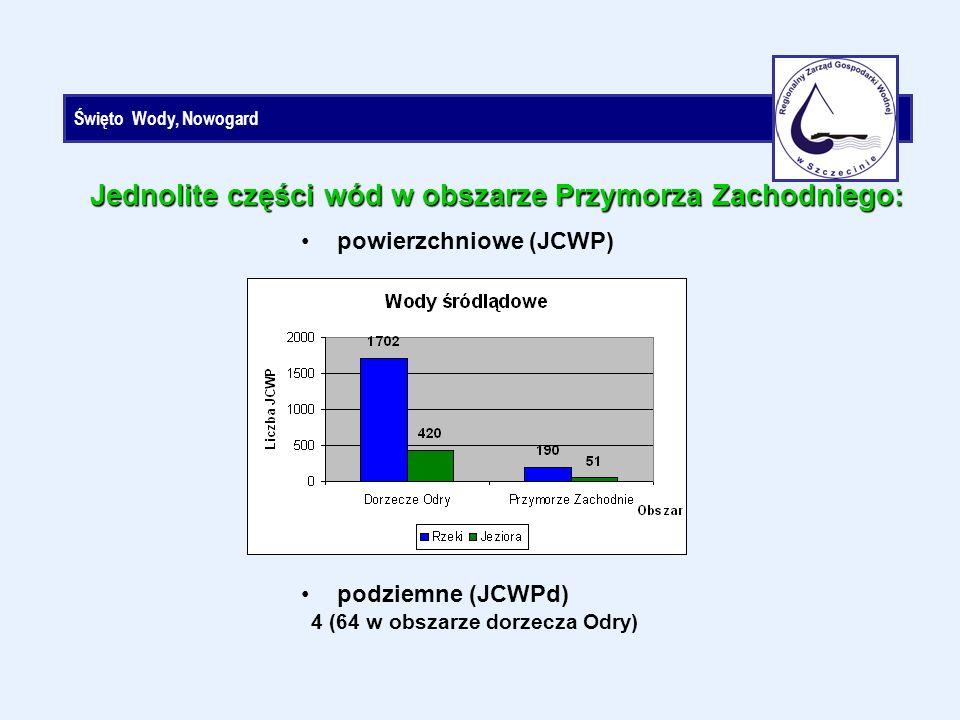 Święto Wody, Nowogard powierzchniowe (JCWP) Jednolite części wód w obszarze Przymorza Zachodniego: podziemne (JCWPd) 4 (64 w obszarze dorzecza Odry)