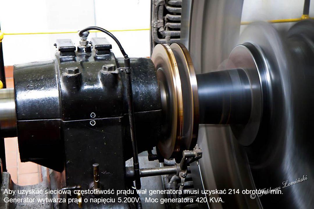 Pomieszczenie generatora prądu. W elektrowni zainstalowano na poziomym wale podwójną bliźniaczą turbinę Francisa austriackiej firmy Voith, która pracu