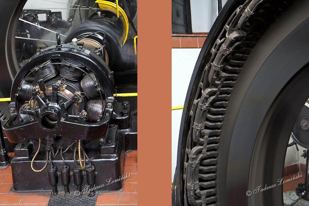 Aby uzyskać sieciową częstotliwość prądu wał generatora musi uzyskać 214 obrotów/ min. Generator wytwarza prąd o napięciu 5.200V. Moc generatora 420 K