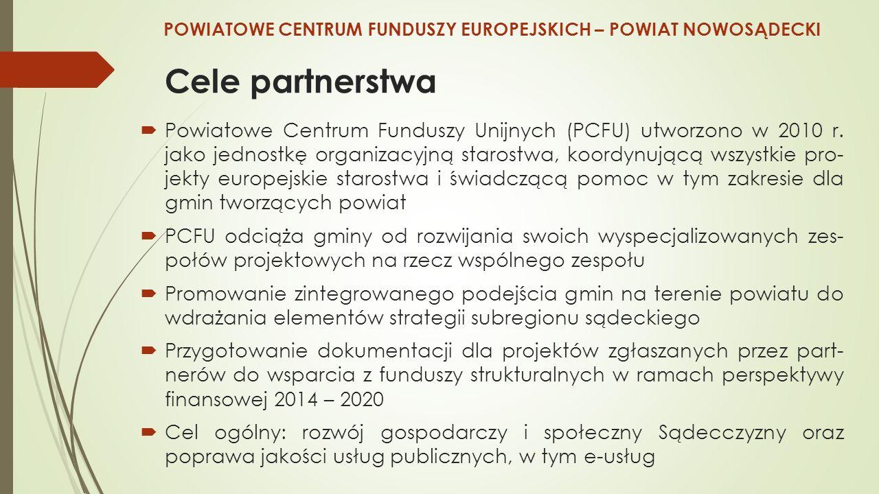 Cele partnerstwa  Powiatowe Centrum Funduszy Unijnych (PCFU) utworzono w 2010 r.