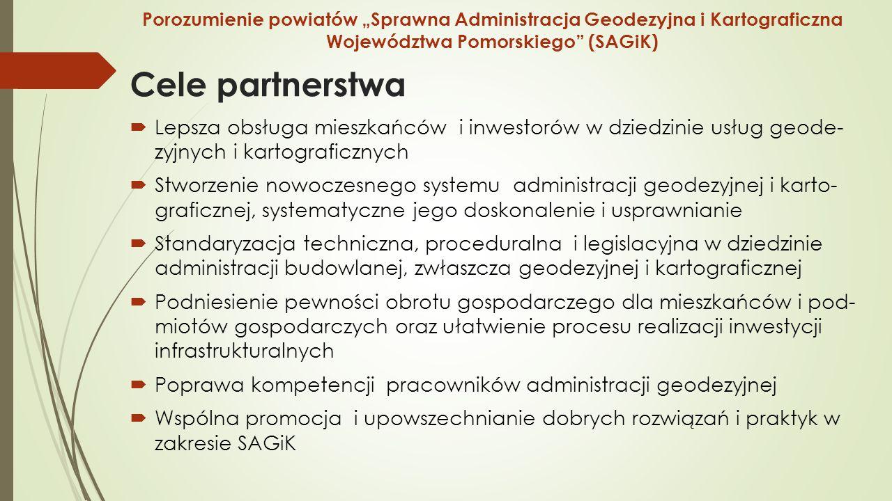 """Cele partnerstwa  Lepsza obsługa mieszkańców i inwestorów w dziedzinie usług geode- zyjnych i kartograficznych  Stworzenie nowoczesnego systemu administracji geodezyjnej i karto- graficznej, systematyczne jego doskonalenie i usprawnianie  Standaryzacja techniczna, proceduralna i legislacyjna w dziedzinie administracji budowlanej, zwłaszcza geodezyjnej i kartograficznej  Podniesienie pewności obrotu gospodarczego dla mieszkańców i pod- miotów gospodarczych oraz ułatwienie procesu realizacji inwestycji infrastrukturalnych  Poprawa kompetencji pracowników administracji geodezyjnej  Wspólna promocja i upowszechnianie dobrych rozwiązań i praktyk w zakresie SAGiK Porozumienie powiatów """"Sprawna Administracja Geodezyjna i Kartograficzna Województwa Pomorskiego (SAGiK)"""