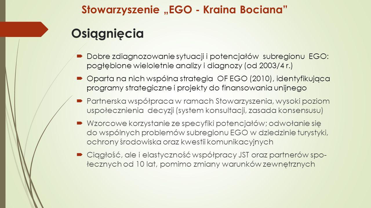 """Osiągnięcia  Dobre zdiagnozowanie sytuacji i potencjałów subregionu EGO: pogłębione wieloletnie analizy i diagnozy (od 2003/4 r.)  Oparta na nich wspólna strategia OF EGO (2010), identyfikująca programy strategiczne i projekty do finansowania unijnego  Partnerska współpraca w ramach Stowarzyszenia, wysoki poziom uspołecznienia decyzji (system konsultacji, zasada konsensusu)  Wzorcowe korzystanie ze specyfiki potencjałów; odwołanie się do wspólnych problemów subregionu EGO w dziedzinie turystyki, ochrony środowiska oraz kwestii komunikacyjnych  Ciągłość, ale i elastyczność współpracy JST oraz partnerów spo- łecznych od 10 lat, pomimo zmiany warunków zewnętrznych Stowarzyszenie """"EGO - Kraina Bociana"""