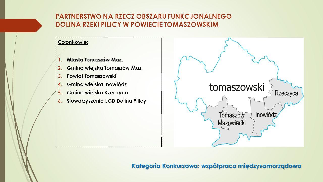 PARTNERSTWO NA RZECZ OBSZARU FUNKCJONALNEGO DOLINA RZEKI PILICY W POWIECIE TOMASZOWSKIM Członkowie: 1.Miasto Tomaszów Maz.