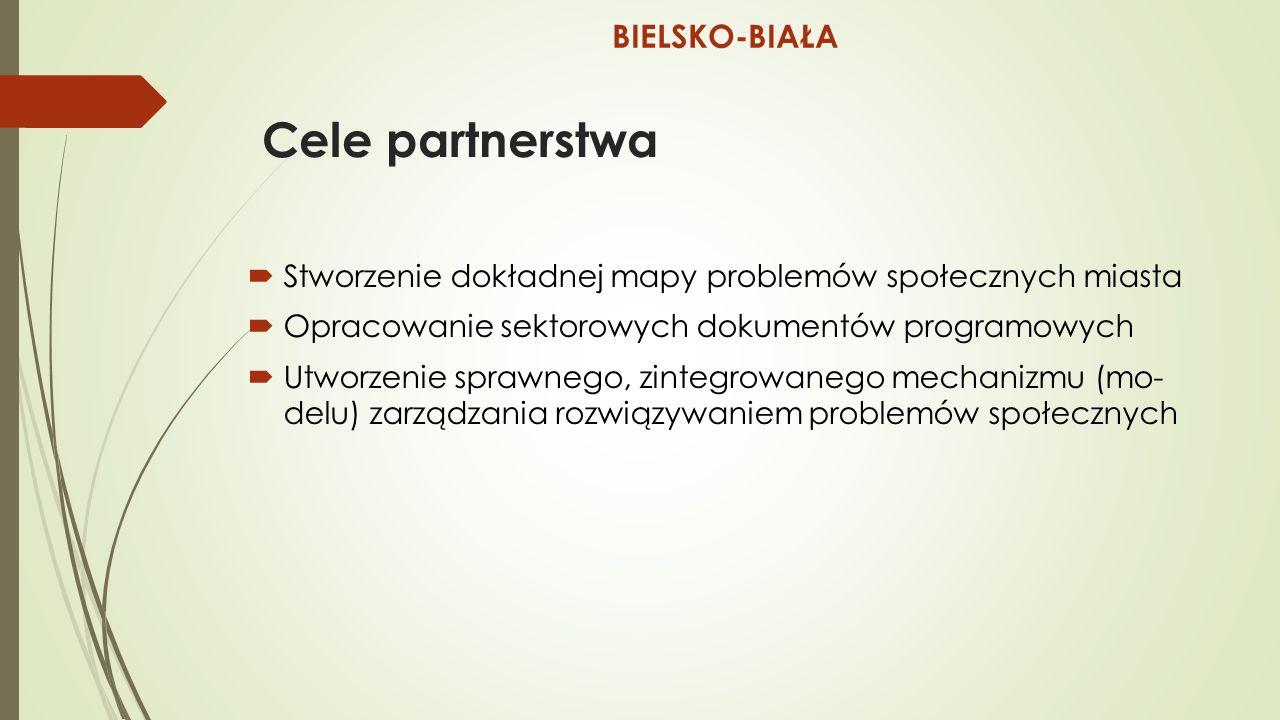 Cele partnerstwa  Stworzenie dokładnej mapy problemów społecznych miasta  Opracowanie sektorowych dokumentów programowych  Utworzenie sprawnego, zintegrowanego mechanizmu (mo- delu) zarządzania rozwiązywaniem problemów społecznych BIELSKO-BIAŁA