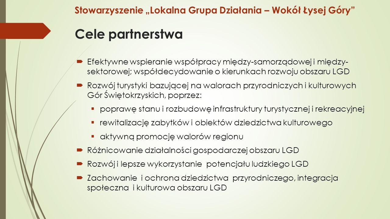 """Cele partnerstwa  Efektywne wspieranie współpracy między-samorządowej i między- sektorowej; współdecydowanie o kierunkach rozwoju obszaru LGD  Rozwój turystyki bazującej na walorach przyrodniczych i kulturowych Gór Świętokrzyskich, poprzez:  poprawę stanu i rozbudowę infrastruktury turystycznej i rekreacyjnej  rewitalizację zabytków i obiektów dziedzictwa kulturowego  aktywną promocję walorów regionu  Różnicowanie działalności gospodarczej obszaru LGD  Rozwój i lepsze wykorzystanie potencjału ludzkiego LGD  Zachowanie i ochrona dziedzictwa przyrodniczego, integracja społeczna i kulturowa obszaru LGD Stowarzyszenie """"Lokalna Grupa Działania – Wokół Łysej Góry"""