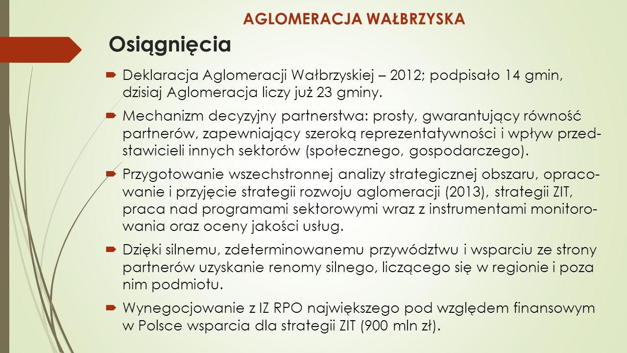 Osiągnięcia  Deklaracja Aglomeracji Wałbrzyskiej – 2012; podpisało 14 gmin, dzisiaj Aglomeracja liczy już 23 gminy.