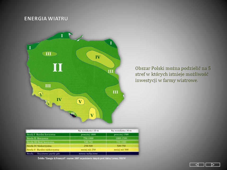 Obszar Polski można podzielić na 5 stref w których istnieje możliwość inwestycji w farmy wiatrowe.