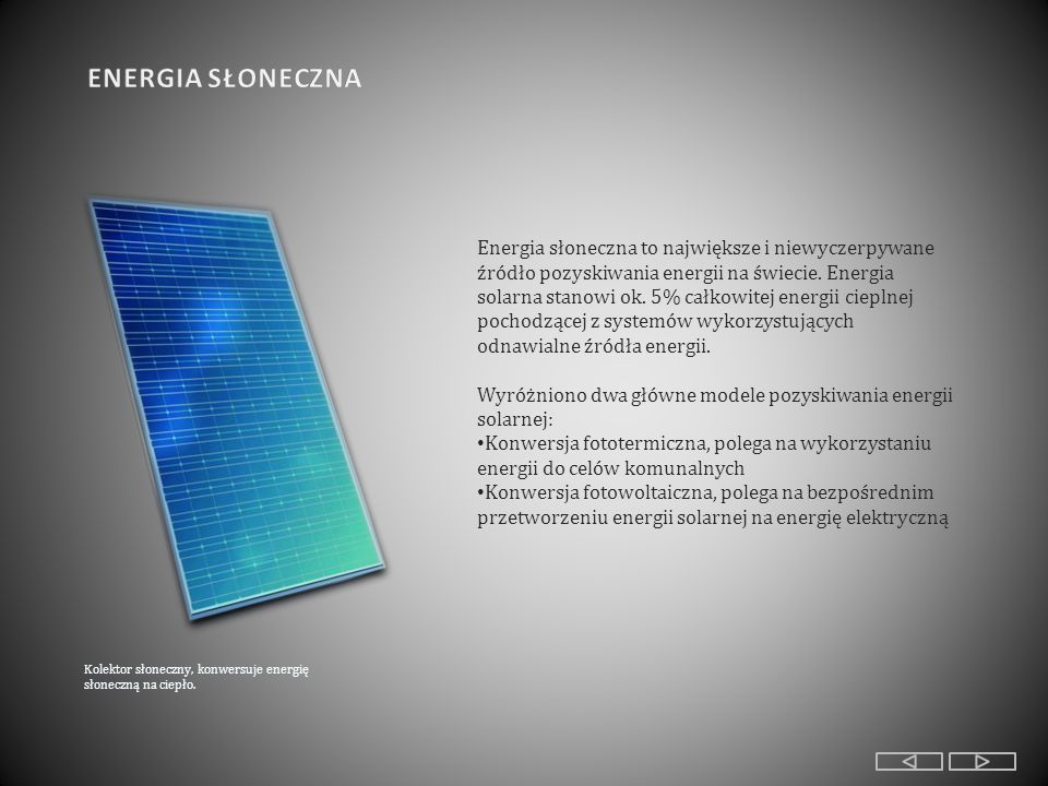 110012001300 kWh/m2 Średnioroczne nasłonecznienie obszaru Polski W Polsce sektor energii solarnej dopiero się rozwija, a trudności z jego rozwojem są związane z brakiem dostępu do programów prognostycznych, dzięki którym można by było oszacować koszta inwestycyjne oraz możliwość rozwoju technologii.