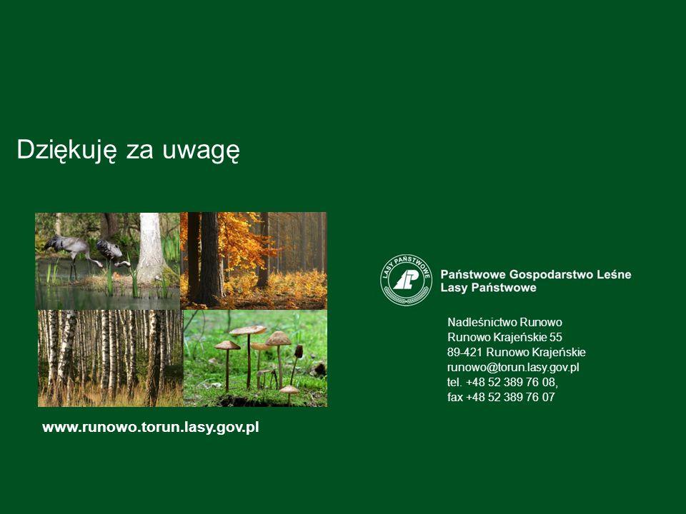 Dziękuję za uwagę www.runowo.torun.lasy.gov.pl Nadleśnictwo Runowo Runowo Krajeńskie 55 89-421 Runowo Krajeńskie runowo@torun.lasy.gov.pl tel.