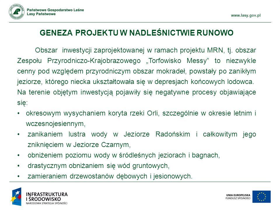 www.ckps.lasy.gov.pl www.lasy.gov.pl GENEZA PROJEKTU W NADLEŚNICTWIE RUNOWO Obszar inwestycji zaprojektowanej w ramach projektu MRN, tj.
