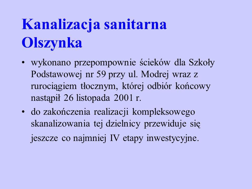Kanalizacja sanitarna Olszynka wykonano przepompownie ścieków dla Szkoły Podstawowej nr 59 przy ul. Modrej wraz z rurociągiem tłocznym, której odbiór