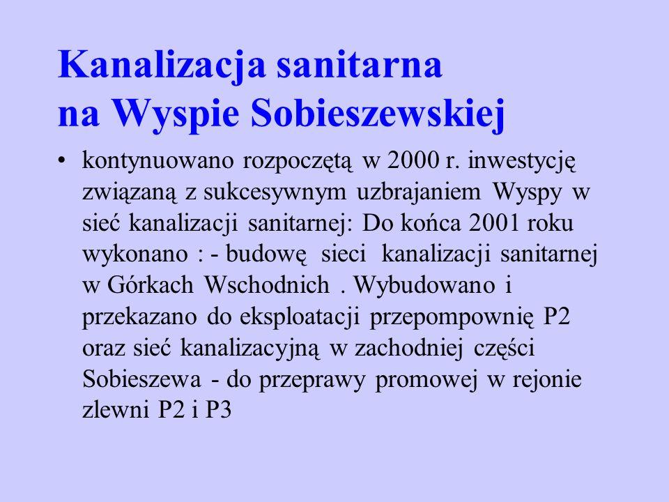 Kanalizacja sanitarna na Wyspie Sobieszewskiej kontynuowano rozpoczętą w 2000 r. inwestycję związaną z sukcesywnym uzbrajaniem Wyspy w sieć kanalizacj