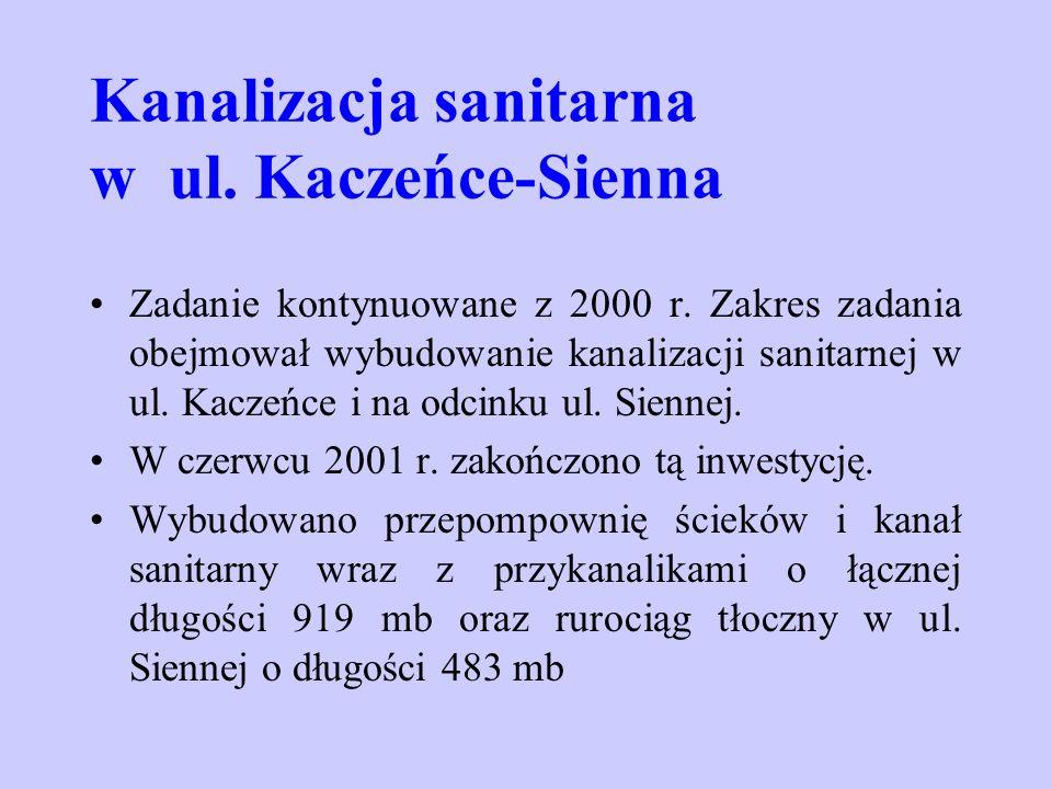 Kanalizacja sanitarna w ul. Kaczeńce-Sienna Zadanie kontynuowane z 2000 r. Zakres zadania obejmował wybudowanie kanalizacji sanitarnej w ul. Kaczeńce