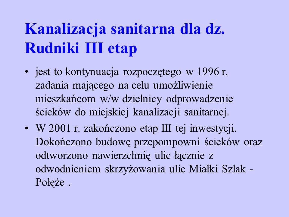 Kanalizacja sanitarna dla dz. Rudniki III etap jest to kontynuacja rozpoczętego w 1996 r. zadania mającego na celu umożliwienie mieszkańcom w/w dzieln