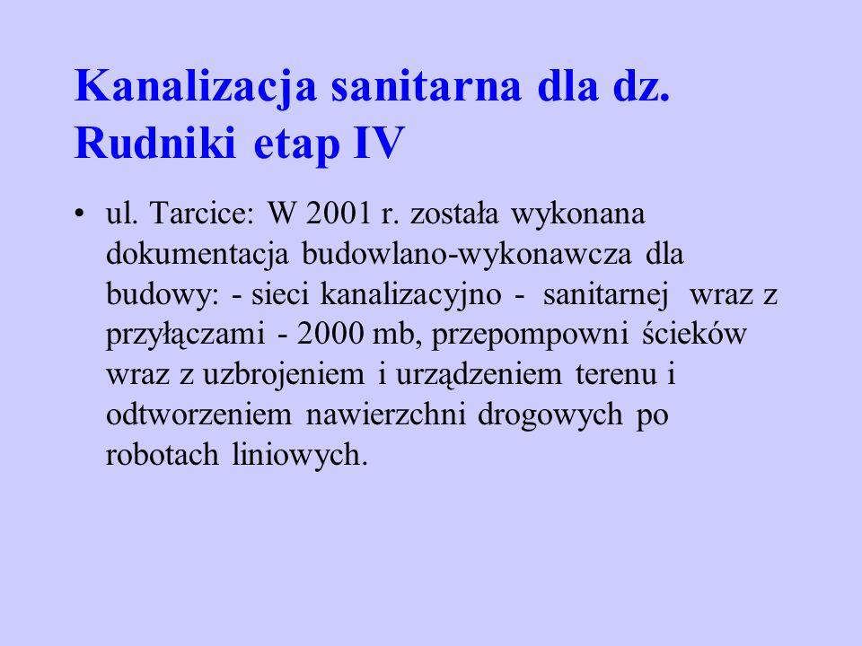 Kanalizacja sanitarna dla dz. Rudniki etap IV ul. Tarcice: W 2001 r. została wykonana dokumentacja budowlano-wykonawcza dla budowy: - sieci kanalizacy