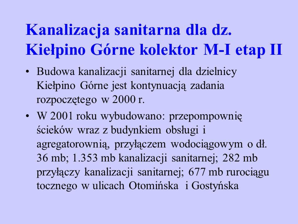 Kanalizacja sanitarna dla dz. Kiełpino Górne kolektor M-I etap II Budowa kanalizacji sanitarnej dla dzielnicy Kiełpino Górne jest kontynuacją zadania