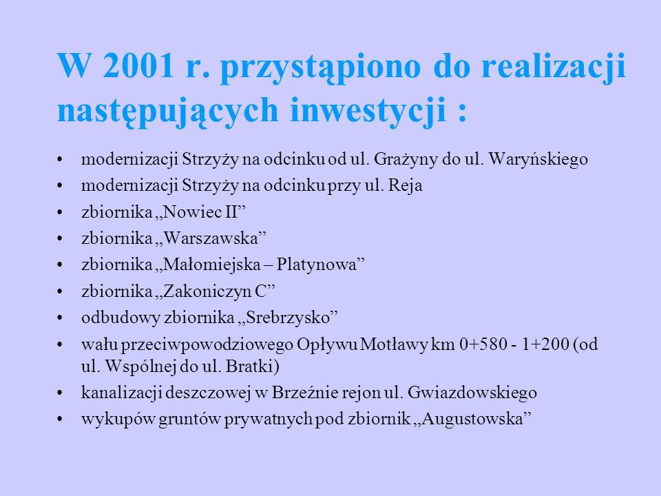 W 2001 r. przystąpiono do realizacji następujących inwestycji : modernizacji Strzyży na odcinku od ul. Grażyny do ul. Waryńskiego modernizacji Strzyży