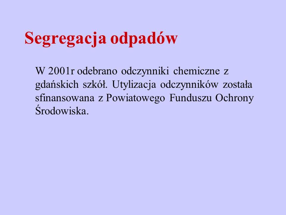 Segregacja odpadów W 2001r odebrano odczynniki chemiczne z gdańskich szkół. Utylizacja odczynników została sfinansowana z Powiatowego Funduszu Ochrony