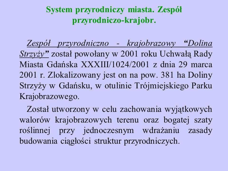 """System przyrodniczy miasta. Zespół przyrodniczo-krajobr. Zespół przyrodniczno - krajobrazowy """"Dolina Strzyży"""" został powołany w 2001 roku Uchwałą Rady"""